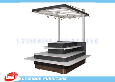 MDF Shopping Mall Wooden Kiosk With Wheels , SGS Mobile Display Kiosk