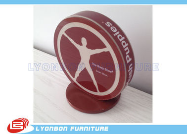 SGS ISO Red Engraved Logo Wood Display Accessory MDF For Brand / Label