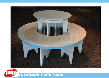 Fashionable Retail Store Round Gondola Display Table White For Hand Bags