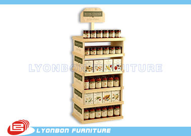 Supermarket Pine Wood Gondola End Display ODM For Can food , Color Painted