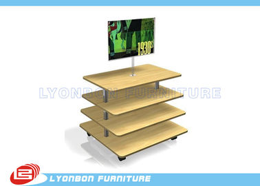 China Customize MDF Wooden Gondola Display Stands Retail Fixtures With 4 Layers supplier