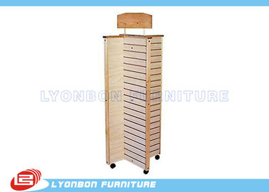 Four side Rotating MDF Slatwall Display Stands With Casters , Wooden Display Stands