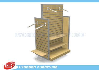 China OEM Four - Side MDF / Metal Slatwall Display Stands For Garment Presenting supplier