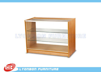 MDF Full Vision Glass / Wooden Shop Cash Counter 3 Layers For Cash Payment