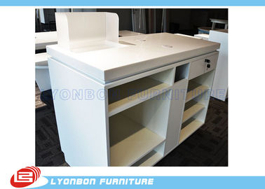 China White OEM MDF Wooden Shop Cash Counter Paint Finished , Retail Desk Counter supplier