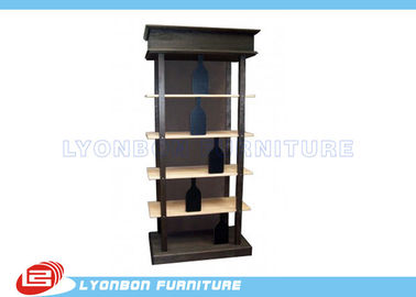 Fashionable Black Solid Wooden Display Racks SGS For Wine Presenting