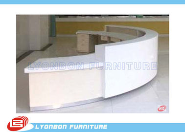 Commercial White MDF ARC Reception Desk For Public Service , Student Information Desk