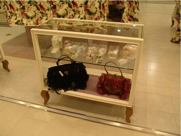 ISO Approval Brown Wooden Glass Display Cabinet For Bags / Clothes Sale