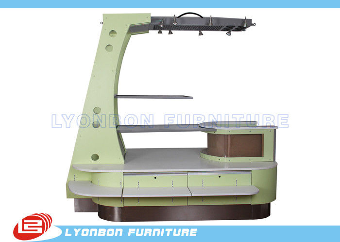 Customized Green MDF Wooden Mobile Kiosk Display ISO for Retail
