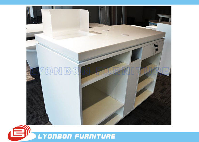 White Oem Mdf Wooden Shop Cash Counter Paint Finished