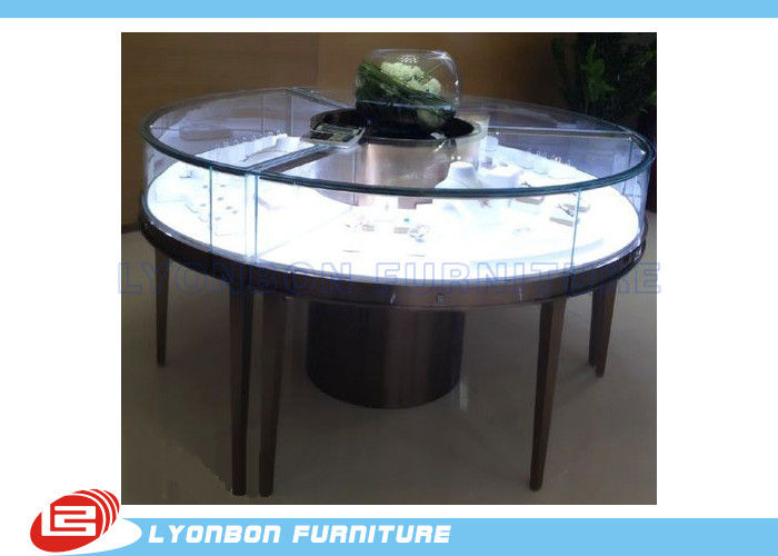 Customized mdf retail round display table for jewelry for Html display table