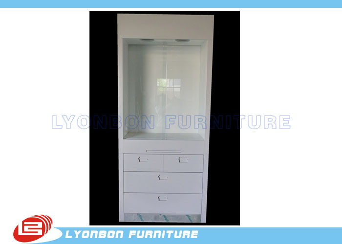 White Wood Display Cabinets Drawers For Retail Jewelry Displays , Paint Finished