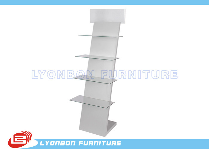 MDF Glass And wooden display stands with Printing logo / Shop products present