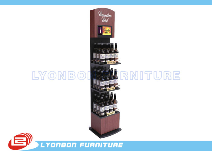 Dark Red MDF Wine Display Stands / Commercial Retail Display Shelving