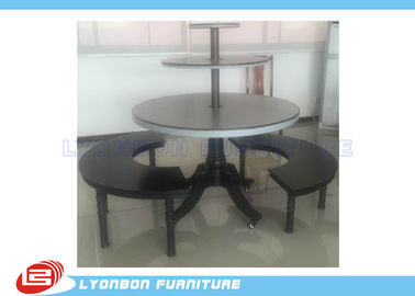 Round Black Clothes Shop Display Table With Metal Support / Solid Wood Feet