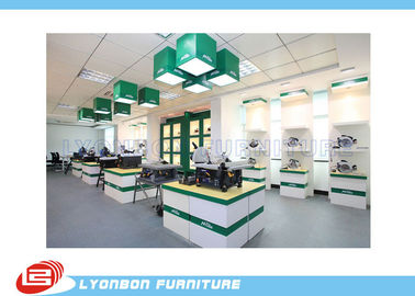 China Fashion White green Wooden Display Stands For Tool , MDF Retail Store Fixtures factory