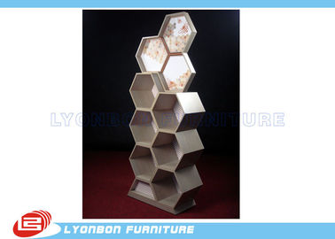 China Showroom Cosmetics Exquisite MDF Wooden Display Stands Customize With Special Shape factory