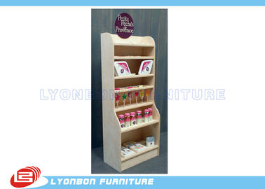 China White Natural Pine Wooden Display Stands Multi Layers For Shopping center factory