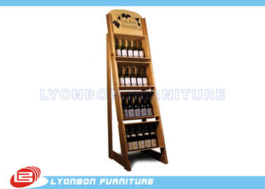 China Store Shop MDF Wine Display Stands Paint Finish , OEM Wooden Display Racks factory