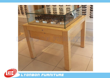 China Wooden Retail Display Table MDF For Presenting Sun Glasses , Logo Sticker factory