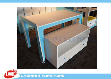 China Modern Blue MDF Retail Display Tables / Melamine Finished Shop Display Tables factory