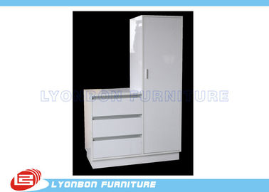 China White MDF Wood Display Cabinets SGS ISO For Supermarket Promoting factory