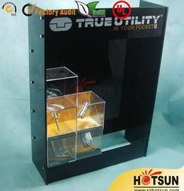 China Black Acrylic Wood Display Cabinets For Presenting Cosmetic / Cigarette factory