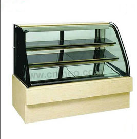 LED Lights Wood Display Cabinets , Butter Icecream Glass Display Cabinet