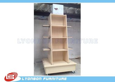 China Mobile Wine Wooden Display Stands MDF Melamine Display Stand With Casters factory