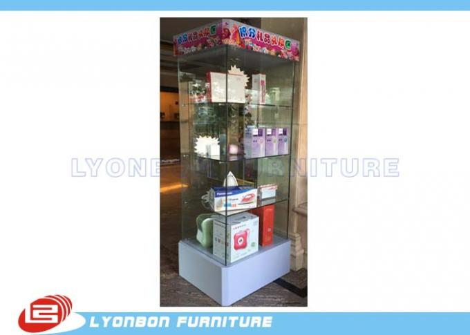 Glass gift display cabinet with LED light customized for retail shop